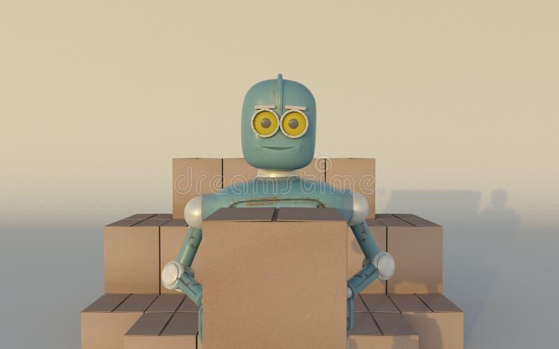 Το αναδρομικό ρομπότ με τη ναυτιλία των κιβωτίων καθιστά τρισδιάστατος ελεύθερη απεικόνιση δικαιώματος
