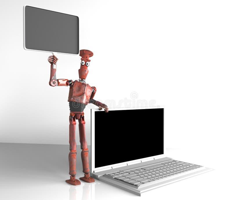 Το αναδρομικό ρομπότ πωλεί τα lap-top, τρισδιάστατος δώστε ελεύθερη απεικόνιση δικαιώματος