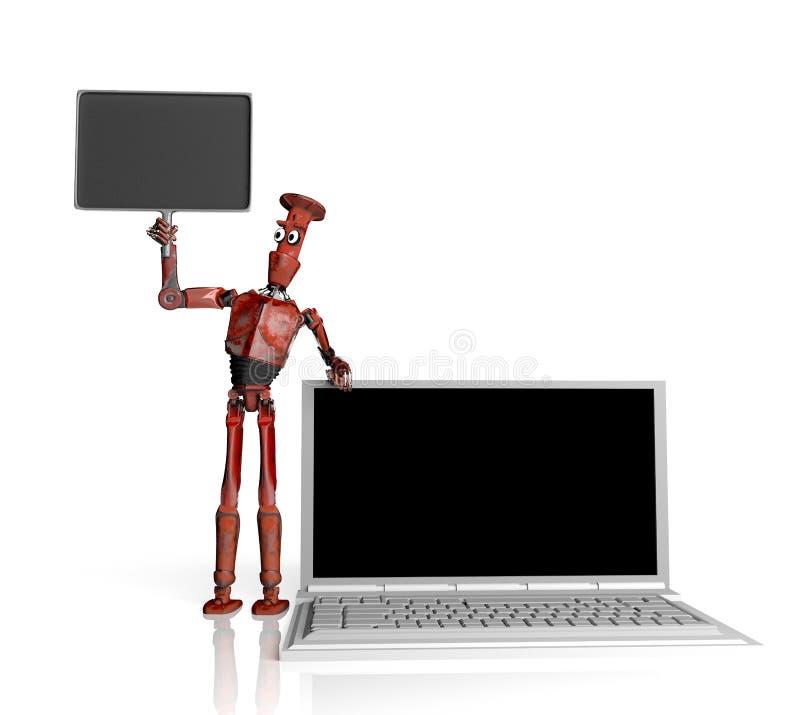 Το αναδρομικό ρομπότ πωλεί τα lap-top, τρισδιάστατος δώστε διανυσματική απεικόνιση
