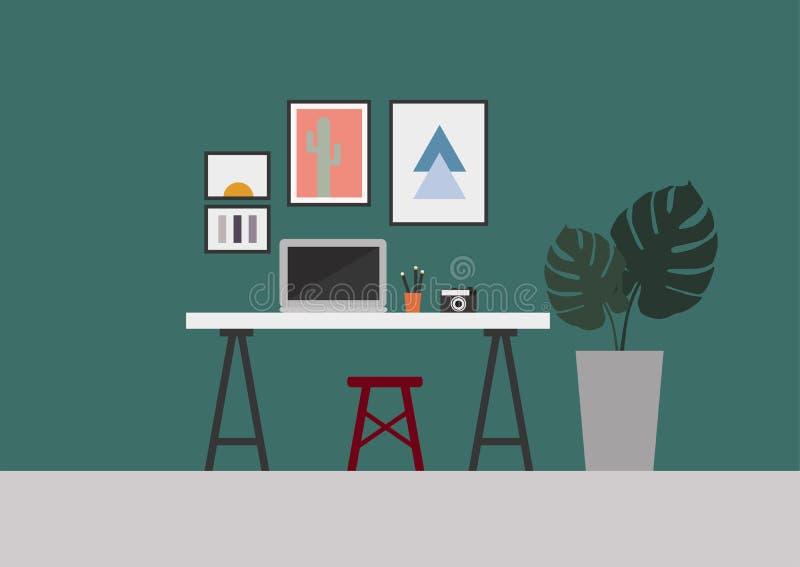Το αναδρομικό Σκανδιναβικό τυρκουάζ πράσινο δωμάτιο εγχώριου χώρου γραφείου με τα φύλλα monstera διακοσμεί την απεικόνιση ελεύθερη απεικόνιση δικαιώματος
