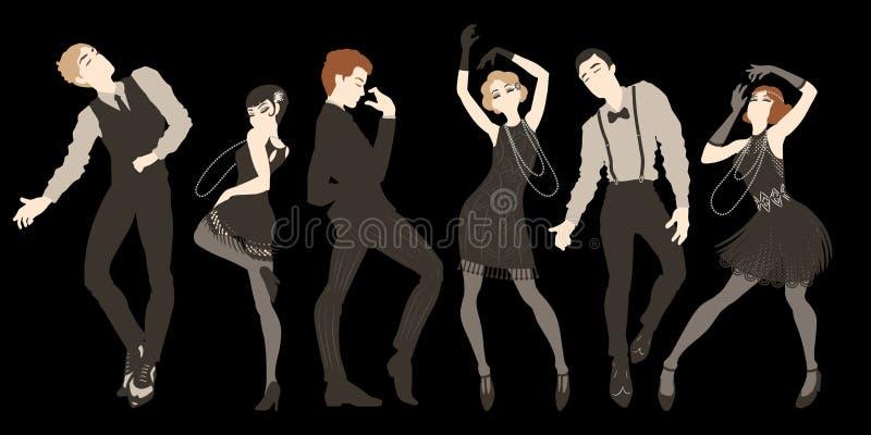 Το αναδρομικό σύνολο, οι άνδρες και οι γυναίκες κομμάτων έντυσαν το 1920 το ύφος του s χορεύοντας, κορίτσια πτερυγίων, όμορφοι τύ απεικόνιση αποθεμάτων