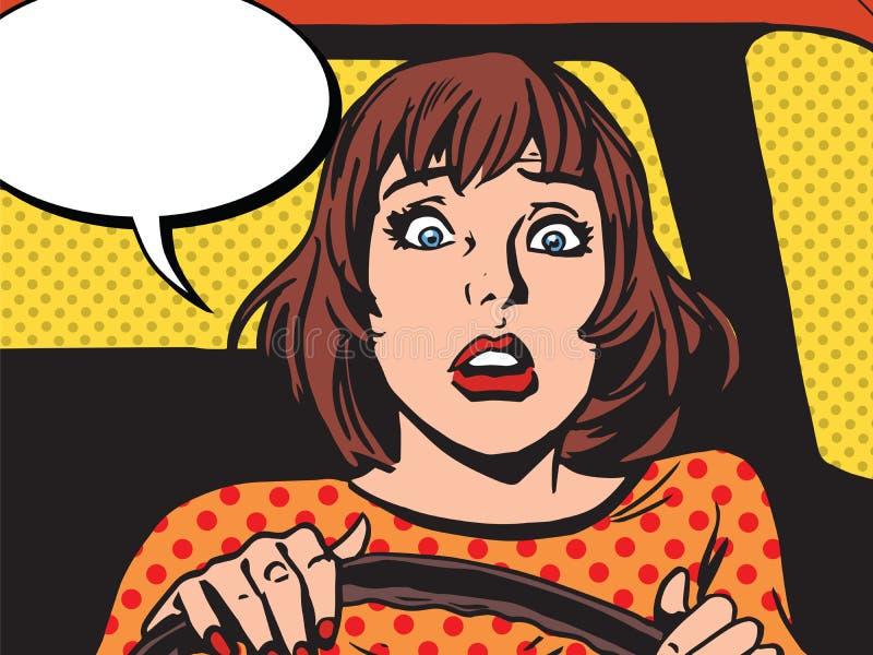 Το αναδρομικό κορίτσι φόβισε τον οδηγό διανυσματική απεικόνιση