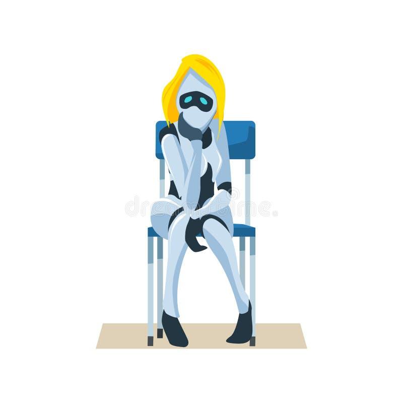 Το ανησυχημένο θηλυκό ρομπότ στην έδρα περιμένει τη συνέντευξη εργασίας διανυσματική απεικόνιση