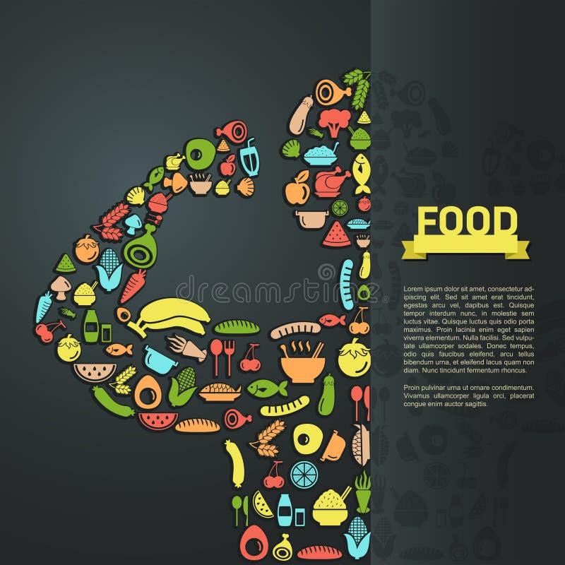 Το ανθρώπινο εικονίδιο τροφίμων στο infographic σχέδιο σχεδιαγράμματος υποβάθρου, δημιουργεί διανυσματική απεικόνιση