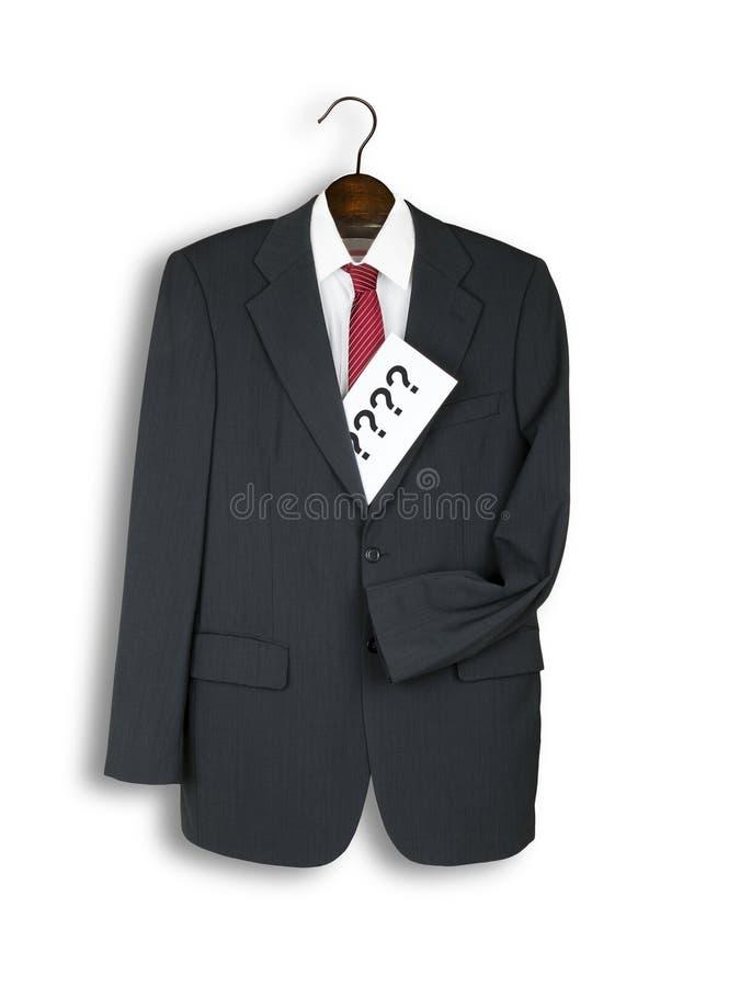 Το ανθρώπινο κοστούμι σε ασυνήθιστο θέτει, με το φάκελο των ερωτήσεων στοκ φωτογραφία με δικαίωμα ελεύθερης χρήσης