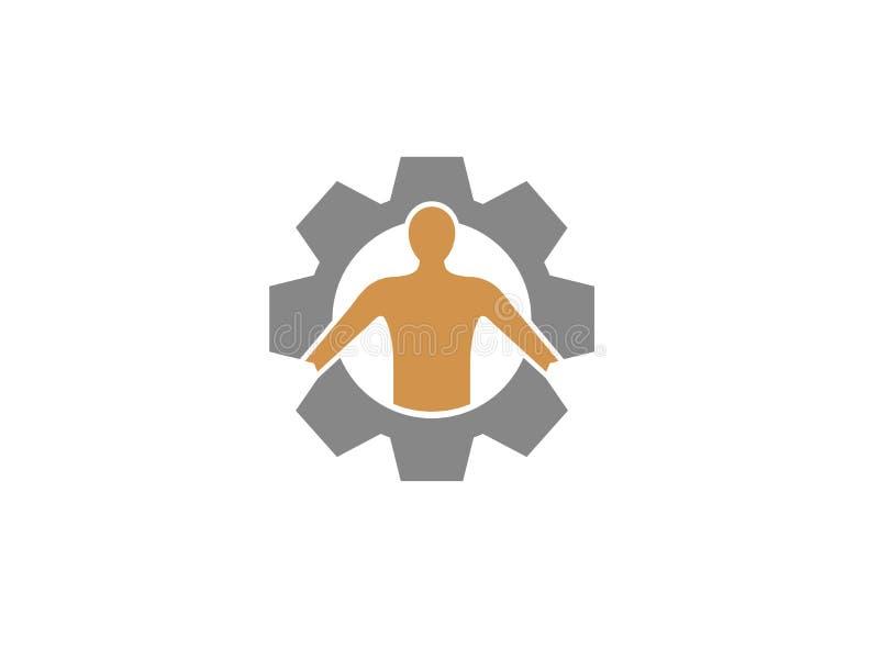 Το ανθρώπινο σώμα μέσα σε ένα γρανάζι εργαλείων για το σχέδιο λογότυπων διανυσματική απεικόνιση