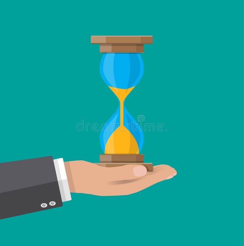 Το ανθρώπινο χέρι κρατά τα παλαιά ρολόγια κλεψυδρών ύφους ελεύθερη απεικόνιση δικαιώματος