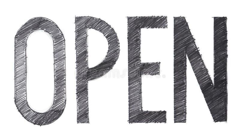 Το ανοικτό κτύπημα μολυβιών μεμονωμένης λέξης που σύρεται έχει τις πορείες ψαλιδίσματος διανυσματική απεικόνιση