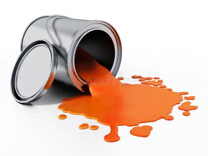 Το ανοικτό χρώμα μετάλλων μπορεί με το πορτοκαλί χρώμα τρισδιάστατη απεικόνιση διανυσματική απεικόνιση