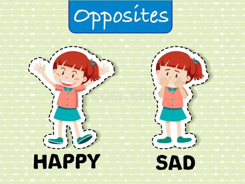 Το αντίθετο Word ευτυχές και λυπημένο απεικόνιση αποθεμάτων