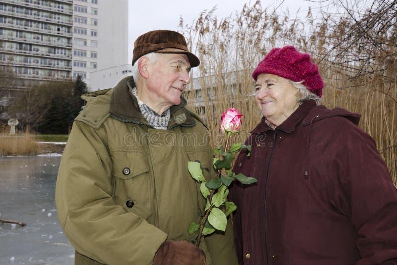 Το ανώτερο ζεύγος την ημέρα βαλεντίνων στοκ φωτογραφία με δικαίωμα ελεύθερης χρήσης