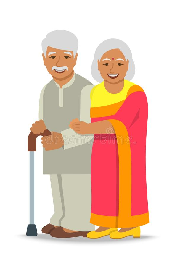 Το ανώτερο ινδικό ζεύγος ανδρών και γυναικών στέκεται από κοινού ελεύθερη απεικόνιση δικαιώματος