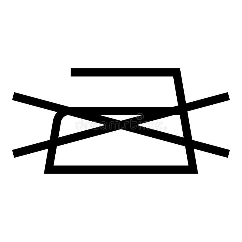 Το απαγορευμένο σιδέρωμα δεν επιτρέπεται τα σύμβολα προσοχής ενδυμάτων που πλένουν το εικονίδιο σημαδιών πλυντηρίων έννοιας μαύρο διανυσματική απεικόνιση