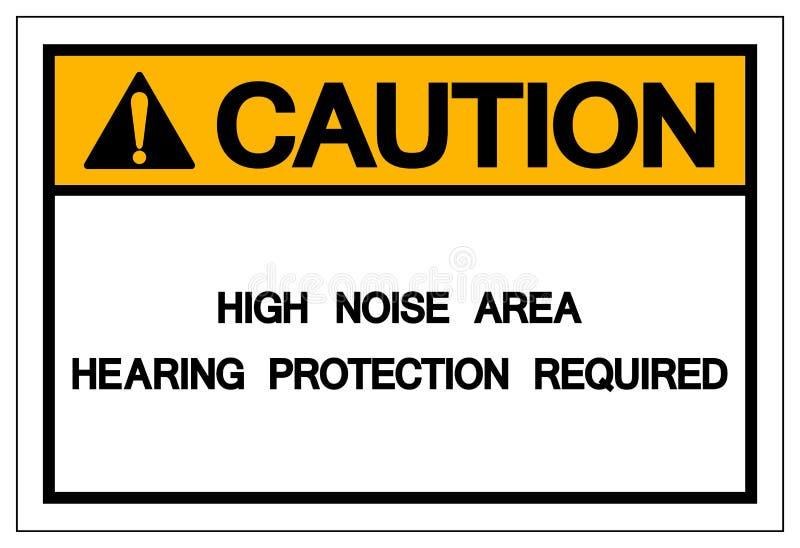 Το απαραίτητο σύμβολο μέσων προστασίας ακοής περιοχής υψηλού θορύβου προσοχής, διανυσματική απεικόνιση, απομονώνει το άσπρο εικον απεικόνιση αποθεμάτων
