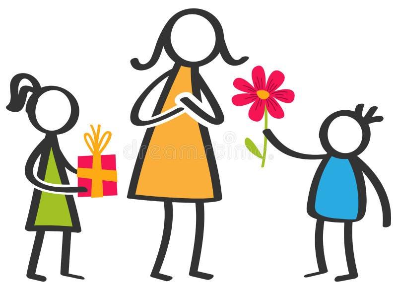 Το απλό ζωηρόχρωμο ραβδί λογαριάζει την οικογένεια, παιδιά που δίνουν τα λουλούδια και τα δώρα στη μητέρα την ημέρα μητέρων ` s διανυσματική απεικόνιση