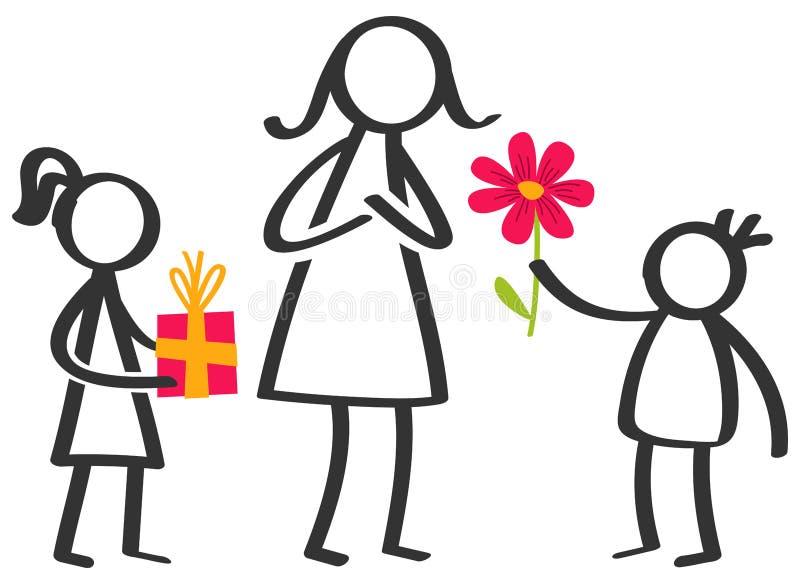 Το απλό ραβδί λογαριάζει την οικογένεια, παιδιά που δίνουν τα λουλούδια και τα δώρα στη μητέρα την ημέρα μητέρων ` s που απομονών απεικόνιση αποθεμάτων
