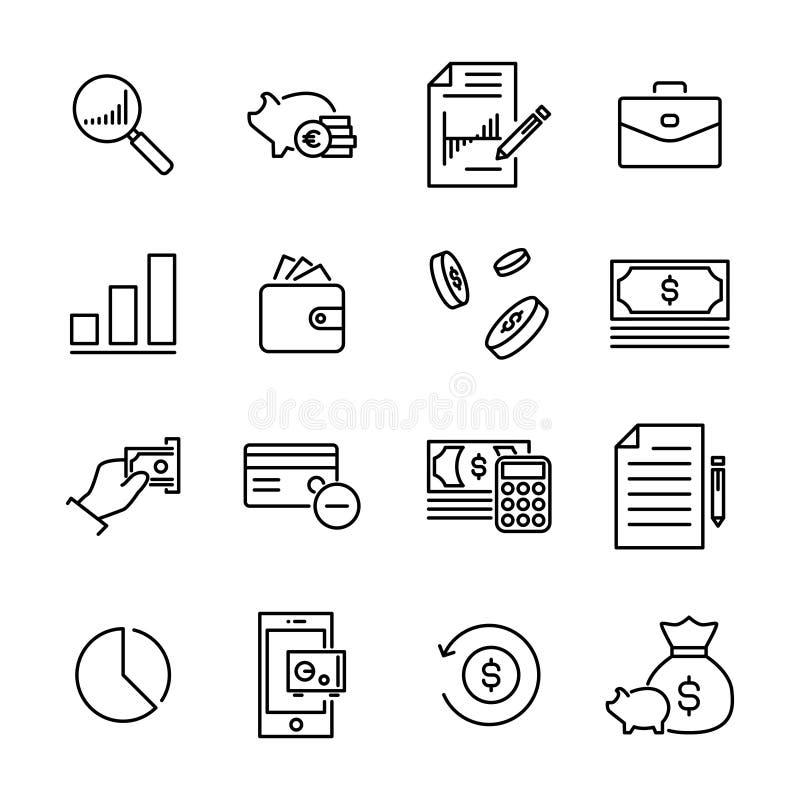 Το απλό σύνολο τραπεζικών εργασιών αφορούσε τα εικονίδια περιλήψεων διανυσματική απεικόνιση