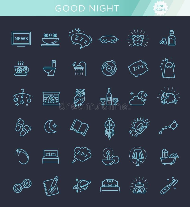 Το απλό σύνολο ύπνου αφορούσε τα διανυσματικά εικονίδια γραμμών διανυσματική απεικόνιση