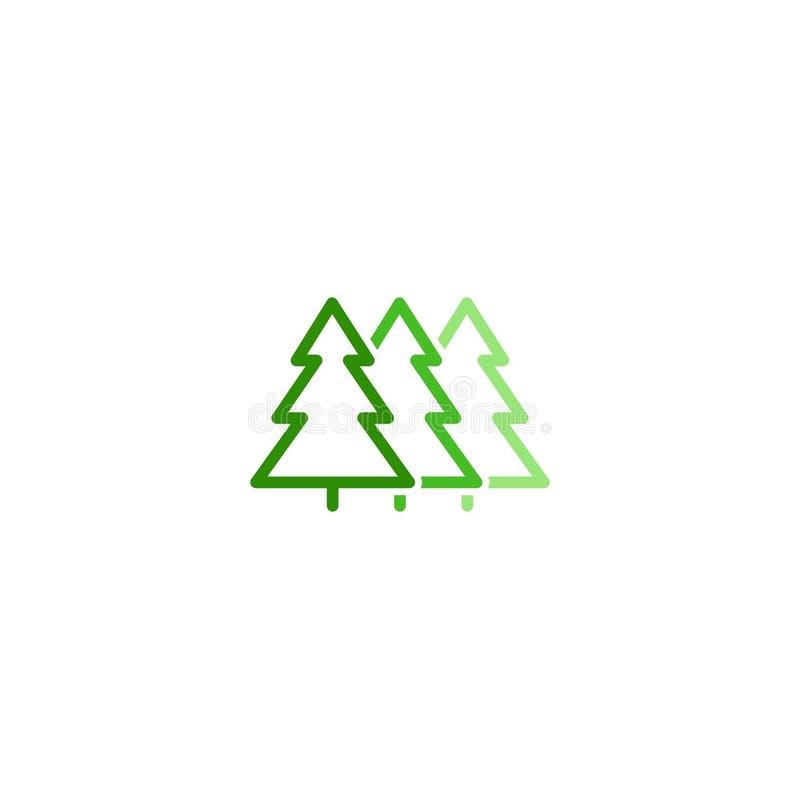 Το απομονωμένο αφηρημένο πράσινο χρώμα αφήνει το γραμμικό διανυσματικό λογότυπο Ασυνήθιστη απεικόνιση δέντρων Φυσικό σημάδι στοιχ διανυσματική απεικόνιση
