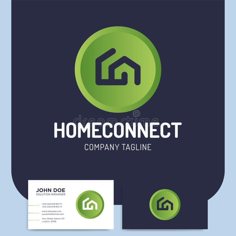 Το απομονωμένο διάνυσμα δύο σπίτι ύφους γραμμών συνδέει το λογότυπο ή το ico οικοδόμησης ελεύθερη απεικόνιση δικαιώματος