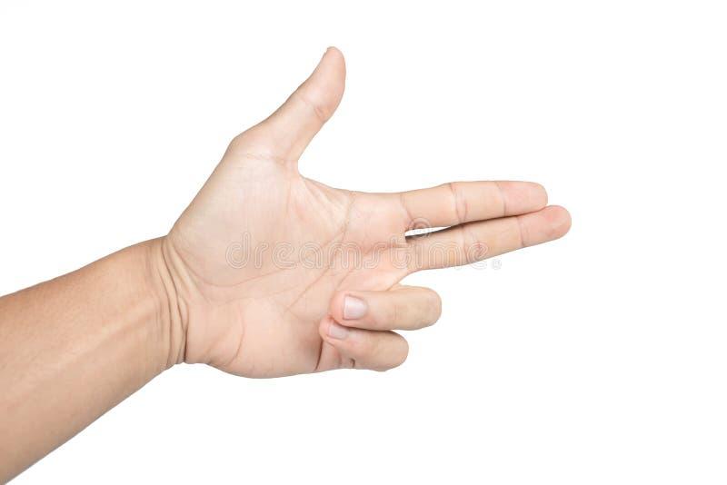 Το απομονωμένο χέρι παρουσιάζει το πυροβόλο όπλο στοκ εικόνες με δικαίωμα ελεύθερης χρήσης