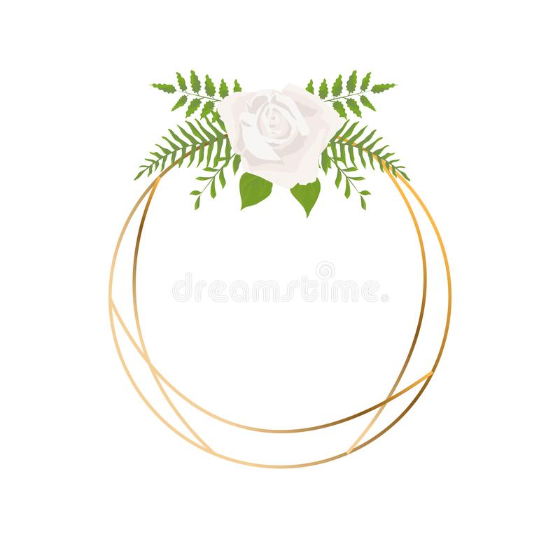 Το απομονωμένο χρυσό γεωμετρικό πλαίσιο ή polyhedron με τα φύλλα και αυξήθηκε, ύφος deco τέχνης για τη γαμήλια πρόσκληση, πρότυπα απεικόνιση αποθεμάτων