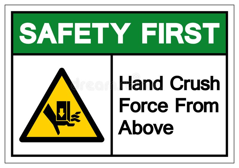 Το από πρώτο χέρι σημάδι συμβόλων δύναμης συντριβής ασφάλειας άνωθεν, διανυσματική απεικόνιση, απομονώνει στην άσπρη ετικέτα υποβ ελεύθερη απεικόνιση δικαιώματος