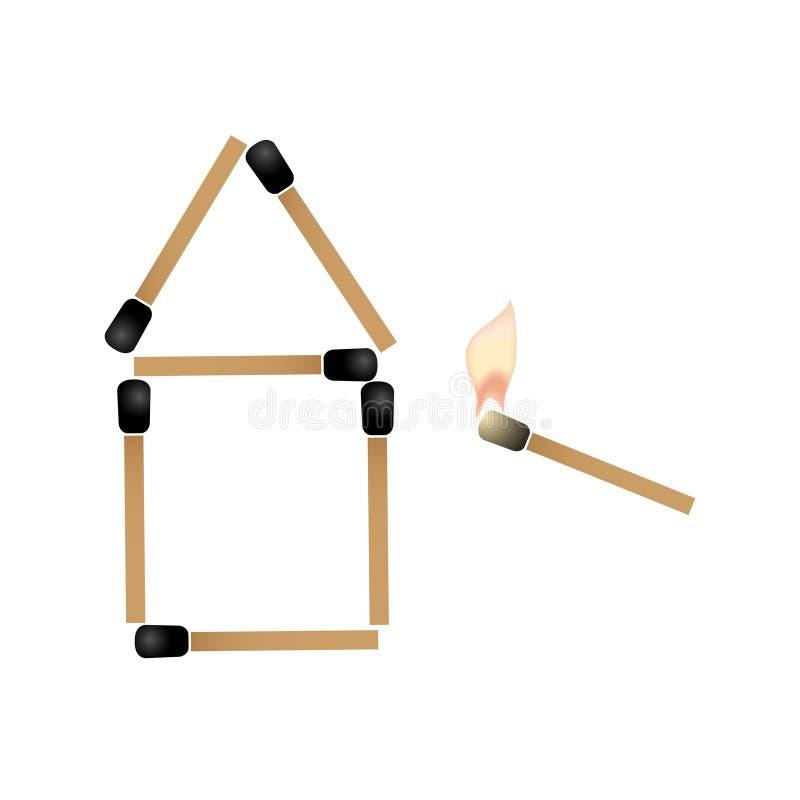 Το απλό σπίτι φιαγμένο από αντιστοιχίες και προσπάθεια αντιστοιχιών καψίματος αναφλέγει τη στέγη eps10 διανυσματική απεικόνιση