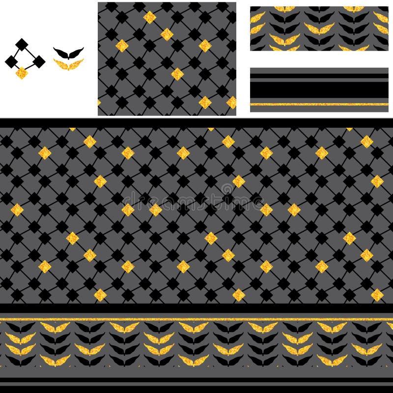 Το αραβικό διαμάντι μορφής διαμαντιών χρυσό ακτινοβολεί άνευ ραφής σχέδιο ελεύθερη απεικόνιση δικαιώματος