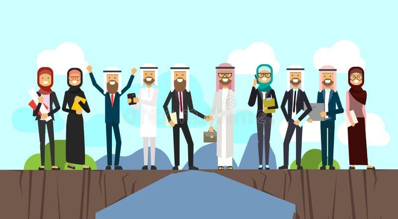 Το αραβικό τίναγμα επιχειρηματιών παραδίδει την επιχείρηση και τα παραδοσιακά ενδύματα πέρα από το χάσμα μεταξύ των βουνών, πλήρη διανυσματική απεικόνιση