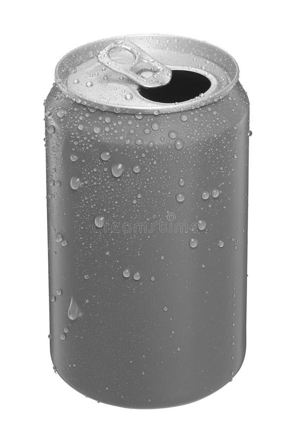 Το αργίλιο μπορεί με τις απελευθερώσεις νερού που απομονώνονται στην άσπρη ανασκόπηση στοκ εικόνα με δικαίωμα ελεύθερης χρήσης