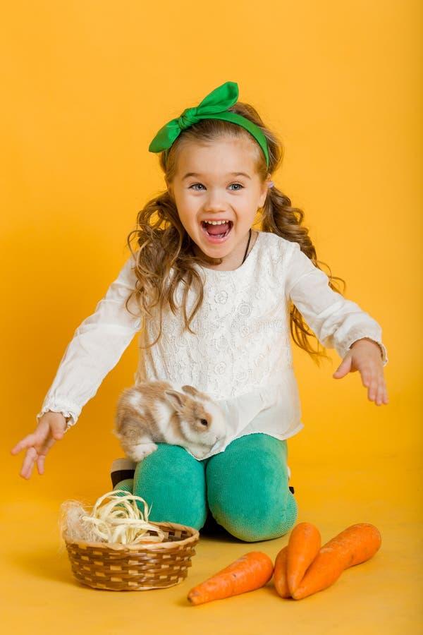 Το αρκετά ευτυχές κορίτσι παιδιών με τα καρότα και ο φίλος της λίγο ζωηρόχρωμο κουνέλι, έννοια διακοπών Πάσχας απομόνωσαν σε κίτρ στοκ εικόνες