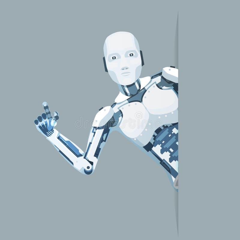 Το αρρενωπό ρομπότ φαίνεται έξω σε απευθείας σύνδεση χαριτωμένο επιστημονικής φαντασίας τεχνολογίας βοήθειας γωνιών μελλοντικό λί διανυσματική απεικόνιση