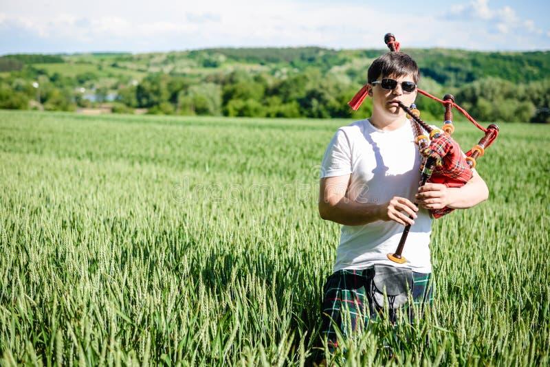Το αρσενικό στα γυαλιά ηλίου που απολαμβάνει παίζοντας τους σωλήνες στην παραδοσιακή σκωτσέζικη φούστα σε πράσινο αντιγράφει υπαί στοκ φωτογραφίες