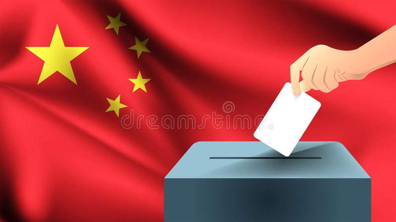 Το αρσενικό χέρι καταγράφει ένα άσπρο φύλλο του εγγράφου με ένα σημάδι ως σύμβολο ενός ψηφοδελτίου στα πλαίσια της σημαίας της Κί απεικόνιση αποθεμάτων