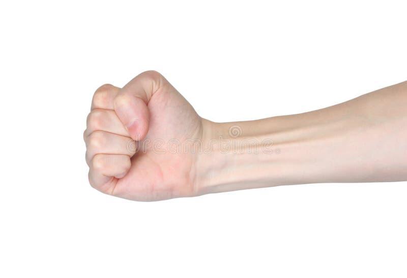 Το αρσενικό χέρι πυγμών παρουσιάζει δύναμη του προσώπου στοκ εικόνα με δικαίωμα ελεύθερης χρήσης