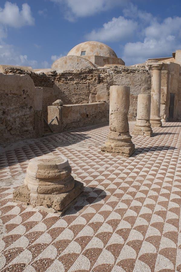 Το αρχαίο ρωμαϊκό σπίτι - βίλα Sileen σε Libia στοκ φωτογραφίες