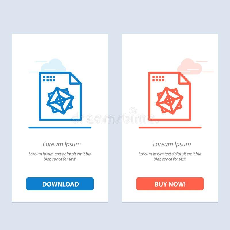 Το αρχείο, η επεξεργασία, τρισδιάστατος, το σχέδιο μπλε και το κόκκινο μεταφορτώνουν και αγοράζουν τώρα το πρότυπο καρτών Widget  απεικόνιση αποθεμάτων