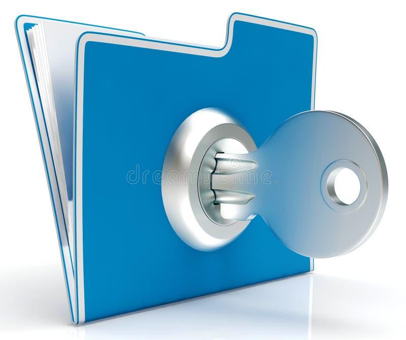 Το αρχείο με το κλειδί παρουσιάζει εμπιστευτικό και που ταξινομεί στοκ εικόνες