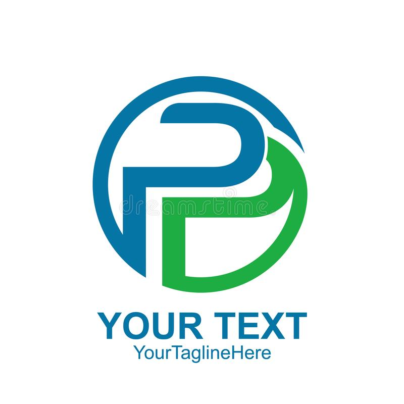 Το αρχικό γράμμα Π ή το πρότυπο λογότυπων PP χρωμάτισε το γαλαζοπράσινο κύκλο δ διανυσματική απεικόνιση