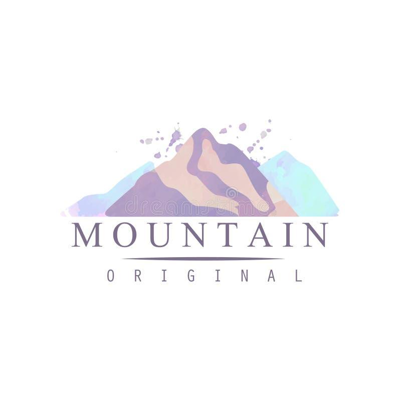 Το αρχικό πρότυπο λογότυπων βουνών, ο τουρισμός, η πεζοπορία και οι υπαίθριες περιπέτειες συμβολίζουν, αναδρομικό διάνυσμα διακρι ελεύθερη απεικόνιση δικαιώματος