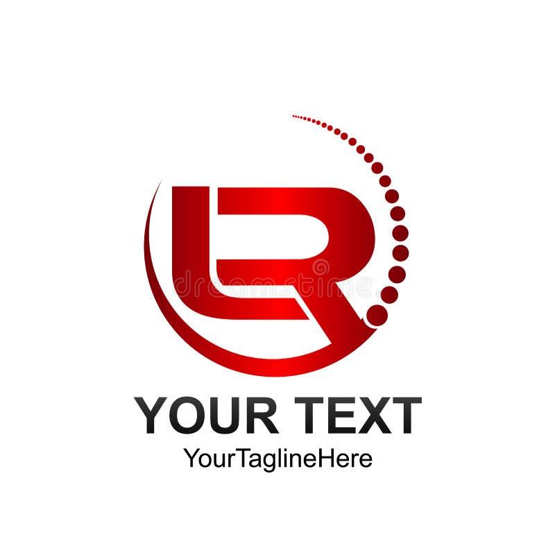 Το αρχικό πρότυπο λογότυπων της LR επιστολών χρωμάτισε το κόκκινο σχέδιο κύκλων swoosh ελεύθερη απεικόνιση δικαιώματος