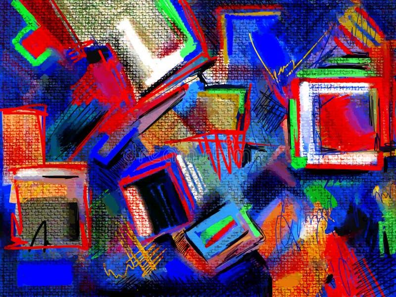 Το αρχικό χέρι σύρει την αφηρημένη ψηφιακή ζωγραφική ελεύθερη απεικόνιση δικαιώματος