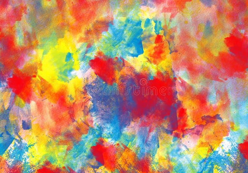 Το αρχικό χρώμα watercolor σύστασης τέχνης ρίχνει αφηρημένο expressionism λεκέδων απεικόνιση αποθεμάτων