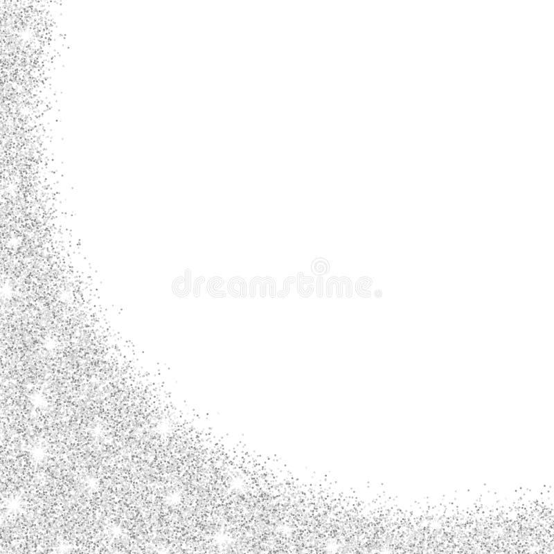 Το ασήμι ακτινοβολεί απομονωμένος στο άσπρο υπόβαθρο Ακτινοβολεί αστράφτει Εορταστικό πρότυπο για το σχέδιό σας Ασημένια πλάγια ό ελεύθερη απεικόνιση δικαιώματος