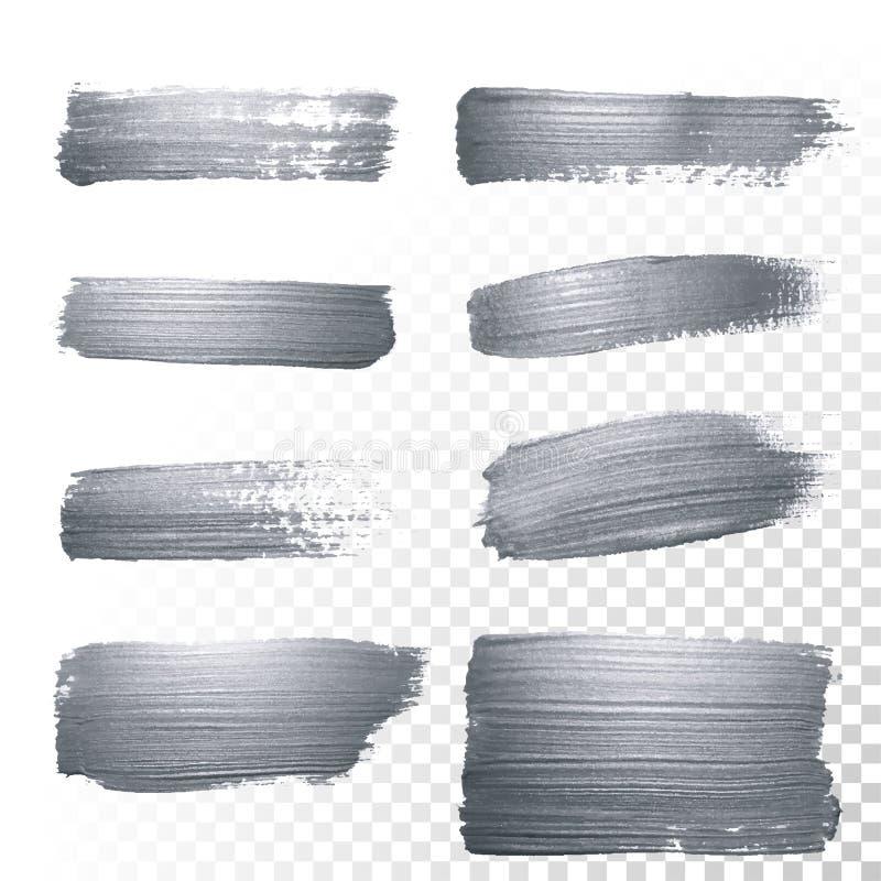 Το ασήμι ακτινοβολεί κτυπήματα βουρτσών χρωμάτων καθορισμένα ή αφηρημένη κηλίδα κτυπημάτων με smudge τη σύσταση στο διαφανές υπόβ απεικόνιση αποθεμάτων