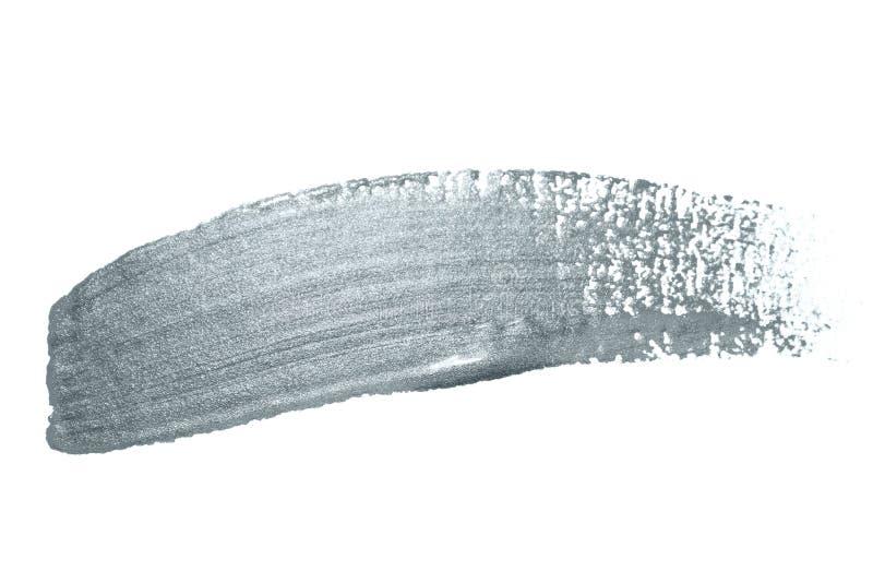 Το ασήμι ακτινοβολεί κτύπημα βουρτσών χρωμάτων ή αφηρημένη κηλίδα κτυπημάτων με smudge τη σύσταση στο άσπρο υπόβαθρο Απομονωμένα  ελεύθερη απεικόνιση δικαιώματος
