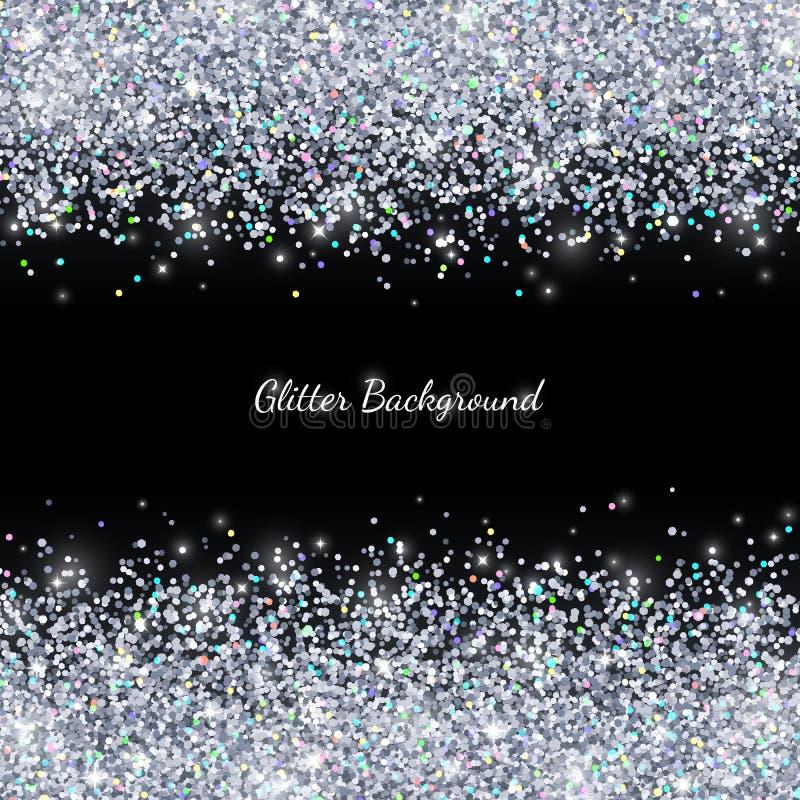 Το ασήμι ακτινοβολεί με τα χρωματισμένα μόρια στο μαύρο υπόβαθρο διάνυσμα διανυσματική απεικόνιση