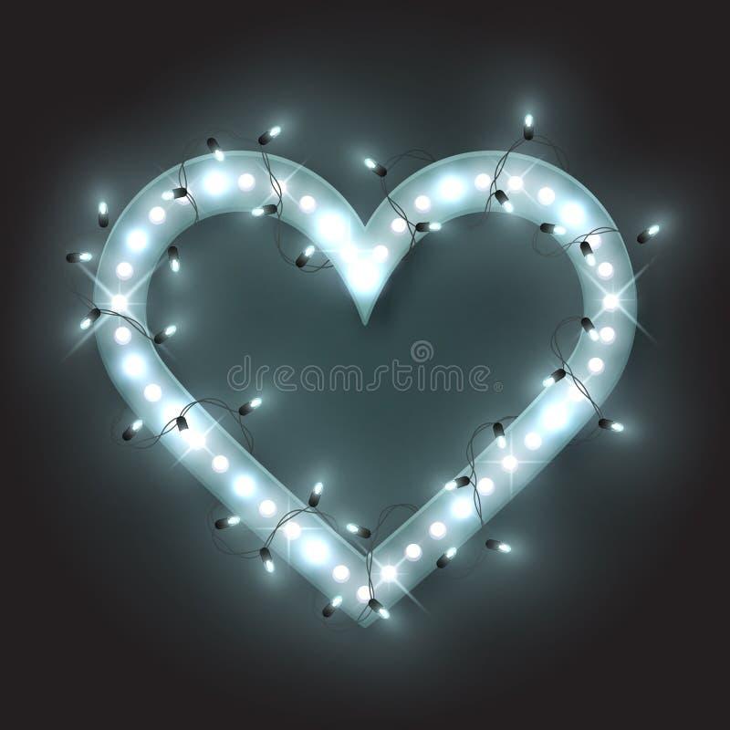 Το ασημένιο αναδρομικό πλαίσιο καρδιών νέου, οδήγησε το φως λάμπει γιρλάντα, διανυσματική απεικόνιση διανυσματική απεικόνιση