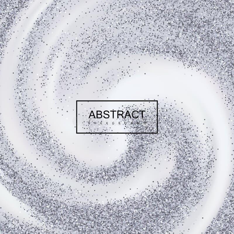 Το ασημένιο κομφετί ακτινοβολεί στο κρεμώδες στροβιλιμένος υπόβαθρο απεικόνιση αποθεμάτων
